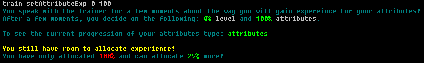 Setting experience for attributes and character level.